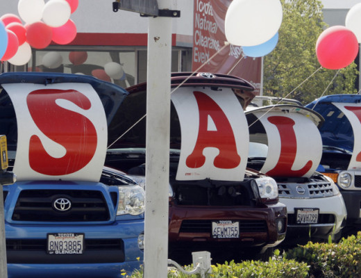 "In this Sept. 18, 2010 photo, ""Sale"" is spelled out in the open hoods of used cars at a Toyota dealership in Glendale, Calif. Retail sales posted a third monthly increase in September as solid gains at auto, furniture and hardware stores helped to offset weakness at clothing and department stores. (AP Photo/Reed Saxon) ORG XMIT: CARS302"