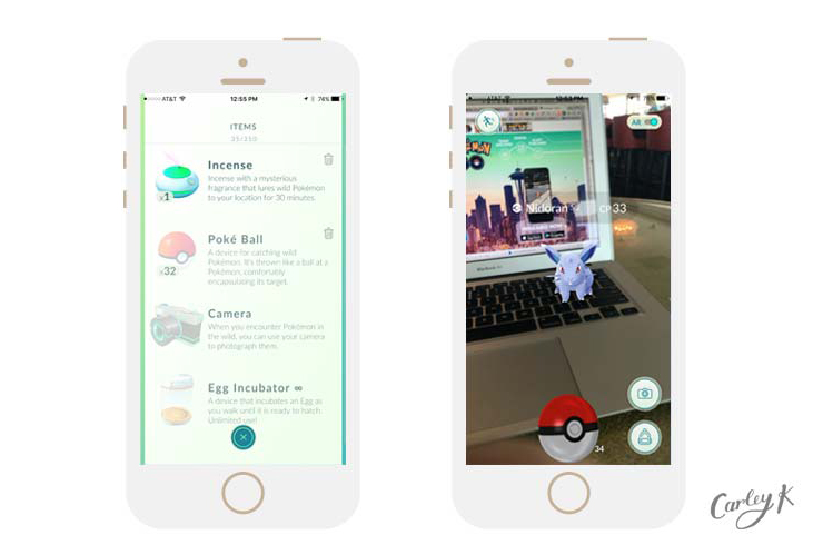 Pokémon being captured, in-app purchases