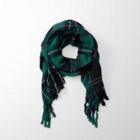 Abercrombie fringe trim blanket scarf in green plaid