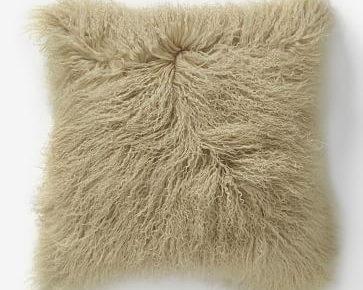 West Elm Mongolian lamb pillow in pebble