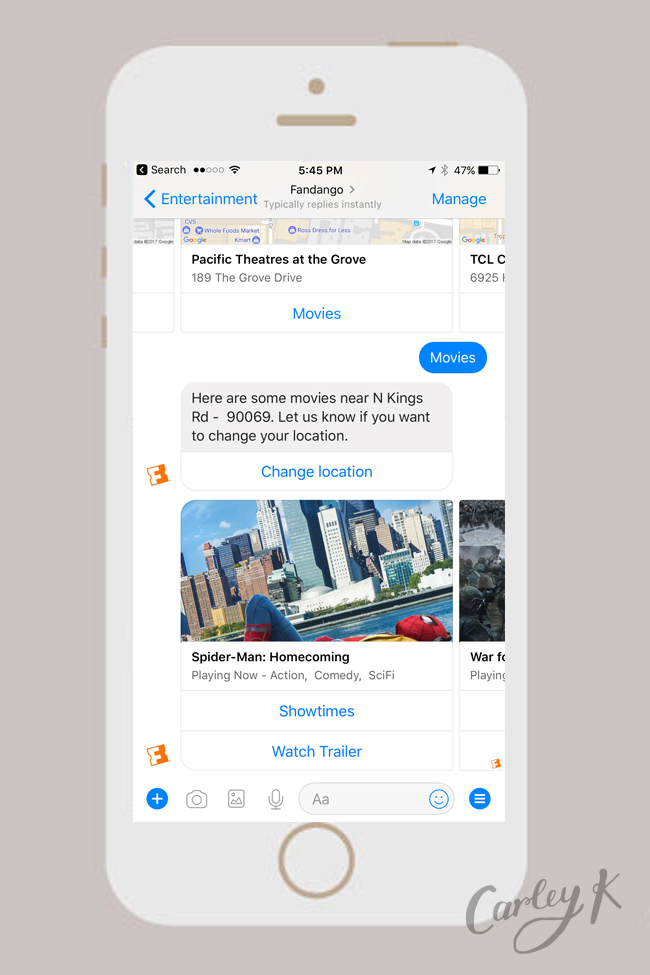 Facebook Messenger Bots: Fandango
