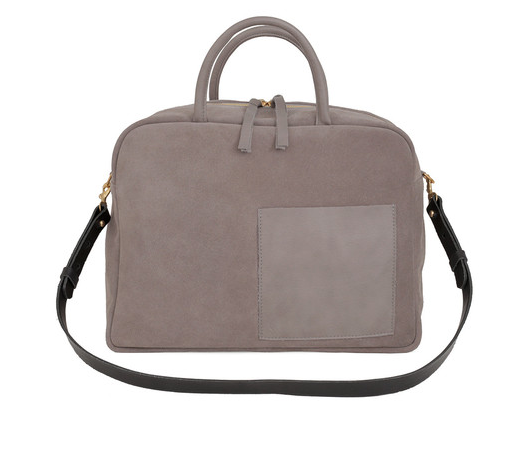 Clare V. Claude Work Bag in Dark Grey Suede