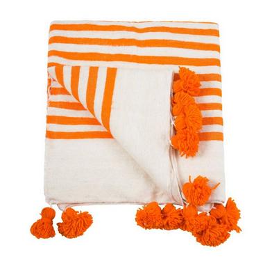 Pom Pom Blanket, Orange