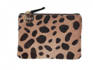 Clare V. coin clutch in leopard