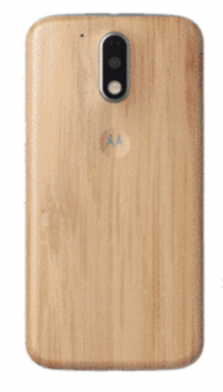 Moto G4 phone with wood back