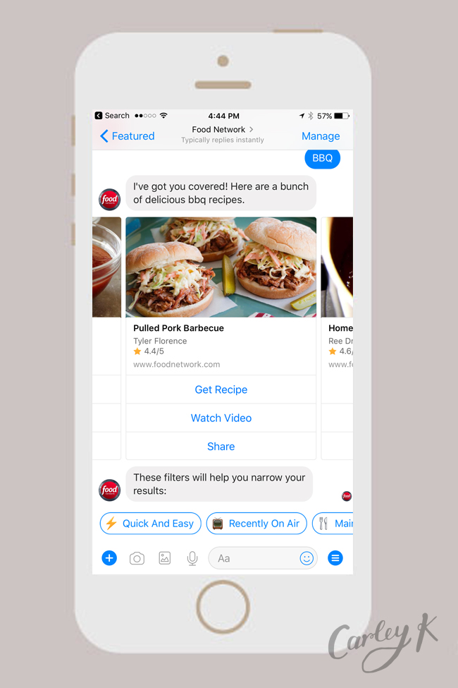 Facebook Messenger Bots: Food Network