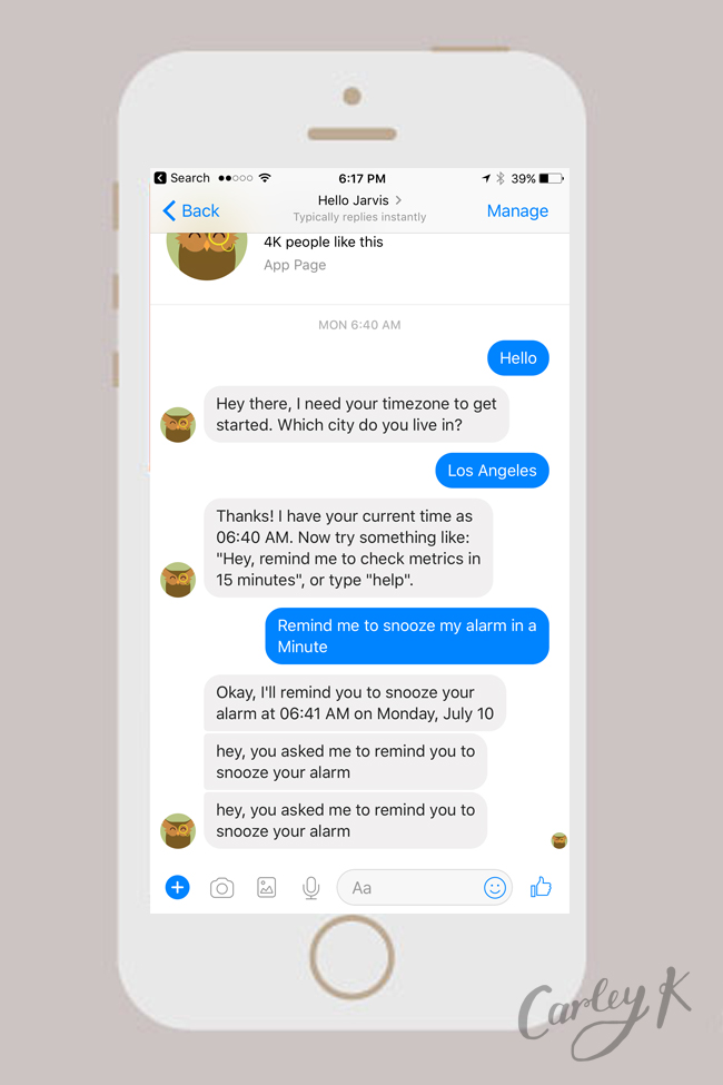 Facebook Messenger Bots: Ask Jarvis